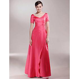 A-line V-neck Floor-length Satin Mother of the Bride Dress