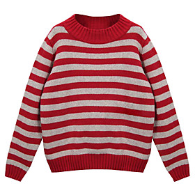 Women's Stripe Round Collar Long Sleeve Sweater