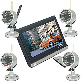 2.4GHz Wireless Security Systems Kit (7 Inch LCD Screen   4 Cameras)