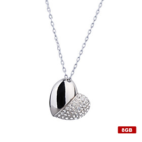 8GB Heart Shaped USB Flash Drive Necklace (Silver)