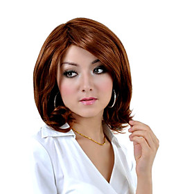 Capless Medium Length Synthetic Brown Straight Hair Wig