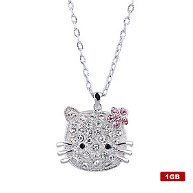 1GB Crystal Kitten Style USB Flash Drive Necklace (Silver)