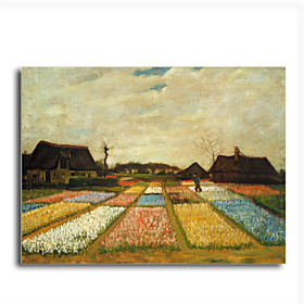 Hand-painted Oil Painting Flower Beds in Holland,c.1883 by Vincent Van Gogh with Stretched Frame