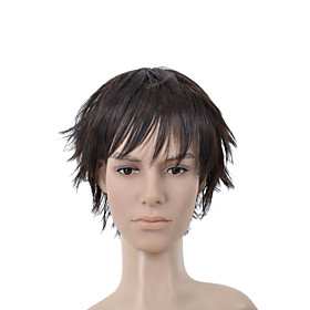Short Straight Dark Brown Full Bang Men Hair Wig