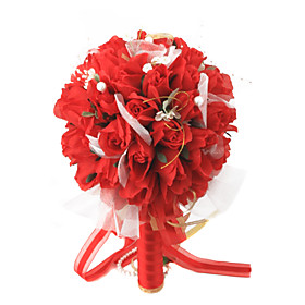 Elegant Red Round Wedding Bouquet/ Bridal Bouquet With Chiffon Decoration