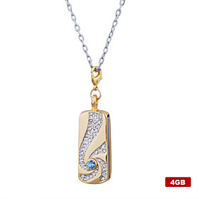 4GB Crystal Pendant Style USB Flash Drive Necklace (Gold)