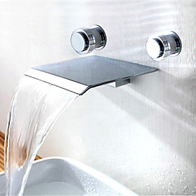 Contemporary Waterfall Bathroom Sink Faucet (Wall Mount)
