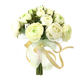 Elegant White/ Green Round Wedding Bouquet/ Bridal Bouquet With Chiffon Decoration