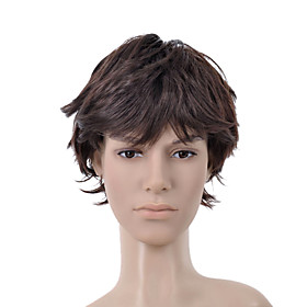 Short Curly Dark Brown Full Bang Men Hair Wig