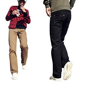 nueva llegada de los hombres la pierna larga y recta relajada de moda los pantalones amarillos de algodón negro (0531-5.31-103)