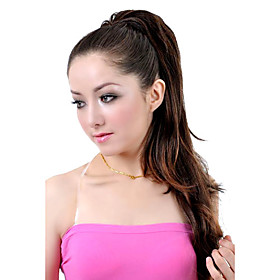 Synthetic Hairpiece - Extra Long Brown European Weave Ponytail