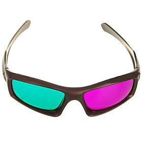 Re-useable Plastic Frame Resin Lens Anaglyphic Green  Magenta 3D Glasses