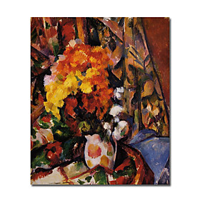 Hand-painted Floral Oil Painting by Paul Cezanne with Stretched Frame