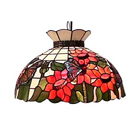 Tiffany Style 2-Light Pendant Light With Bloom Floral Pattern