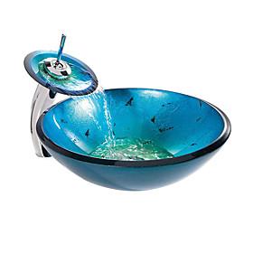 Lavabo De Cristal Azul