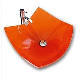 Victory Square Orange Tempered glass Vessel Sink and Chrome Faucet(0917-VT4019)