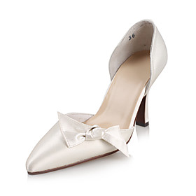 Satin Upper High Heel Closed-toes With Bowknot Wedding Bridal Shoes.More Colors Available