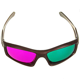 Re-useable Plastic Frame Resin Lens Anaglyphic Magenta  Green 3D Glasses