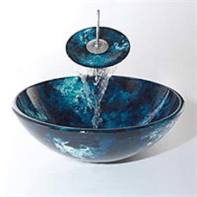 Victory Round Swirls Dark Blue Tempered glass Vessel Sink and Waterfall Faucet(0917-VT4036)