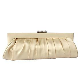vente en gros satin de soie magnifique coquille / avec sac de soirée autrichienne pierres à main d'embrayage sac (0438-6952c41)