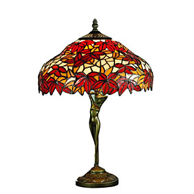 Tiffany-style Red Maple Leaf Bronze Finish Table Lamp(0923-TF15)