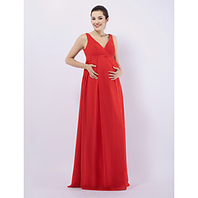 Sheath/ Column V-neck Floor-length Chiffon Over Elastic satin Maternity Bridesmaid/ Wedding Party Dress