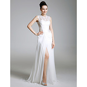 Lace Chiffon Sheath/ Column Jewel Sweep/ Brush Train Evening Dress inspired by Eva La Rue at Golden Globe