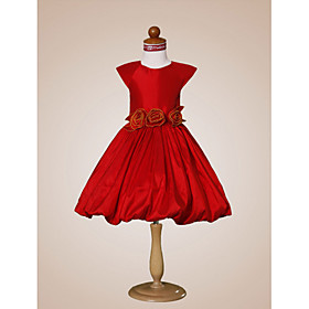 Ball Gown Jewel  Knee-length  Taffeta  Flower Girl Dress