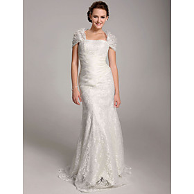 Trumpet / Mermaid Floor-length Satin Lace Wedding Dress With Wrap (FSM04111)