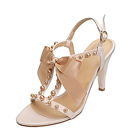 Real Leather Upper Mid heels Sandals With Ribbon Tie/ Imitation Pearl Fashion Shoe(0985-K091)