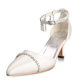 Satin, Closed-toes with Rhinestones