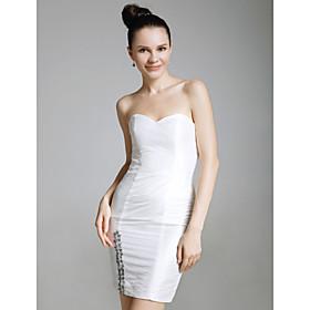 Satin Sheath/ Column Strapless Sweetheart Short/ Mini Cocktail Dress