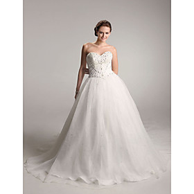 Ball Gown Sweetheart  Chapel Train Satin  Wedding Dresses (WSM04152)