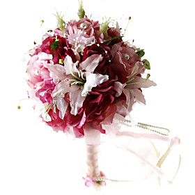 Elegant Rose Red Silk Rose And Lily With Chiffon Decoration Round Wedding Bouquet/ Bridal Bouquet