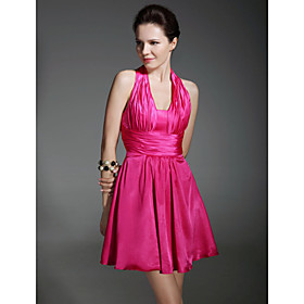 Elastic Silk-like Satin A-line Halter Short/ Mini Court Train Dress inspired by Grammy