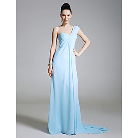 Chiffon Sheath/ Column One Shoulder Sweep Train Evening Dress inspired by Lara Spencer at Emmy Awards