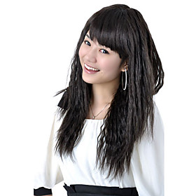 Capless Extra Long High Quality Synthetic Black Tight Curly Hair Wig 0463-466