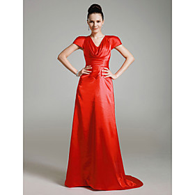 Elastic Woven Satin Sheath/ Column V-neck Sweep Train Evening Dress inspired by Cameron Diaz at Golden Globe