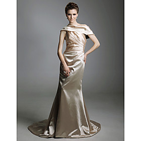 Elastic Woven Satin Trumpet/ Mermaid Off-the-shoulder Court Train Evening Dress inspired by Jessica Alba