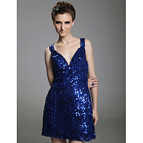 Sheath/ Column V-neck  Short/ Mini  Sleeveless Sequined Fabric Cocktail Dresses(WSM04190)