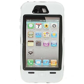 Extra Tough Protective Impact Housing Case   LCD Screen Protector for iPhone 4 (White)