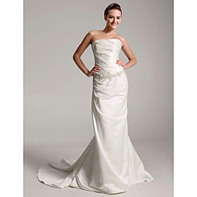 Trumpt/ Mermaid Strapless Chapel Trains Satin Wedding Dresses (WSM113)
