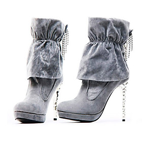 Quality Suede High Heeled Boots With Rhinestones