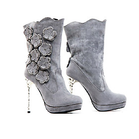 Quality Suede High Heeled Boots With Beading/Applique