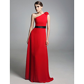 Chiffon Elastic Satin Column One Shoulder Floor-length Evening Dress inspired by Amy Poehler at Golden Globe