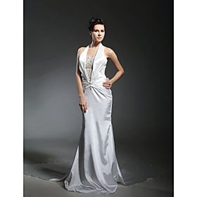 Trumpet/ Mermaid Halter Elastic Woven Satin Wedding Dress with Removable Chapel Train