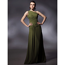 Chiffon Sheath/ Column One Shoulder Floor-length Evening Dress inspired by Sigourney Weaver at Golden Globe