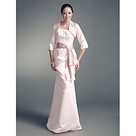 Trumpet/ Mermaid Square Floor-length Satin Mother of the Bride Dress With A Wrap