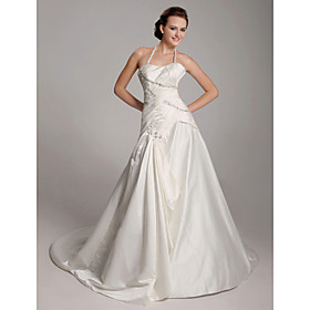 A-line Halter  Chapel Train Satin  Wedding Dresses (WSM04148)