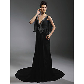 Chiffon Elastic Satin Sheath/ Column V-neck Court Train Evening Dress inspired by Diane Lane at Cannes Film Festival